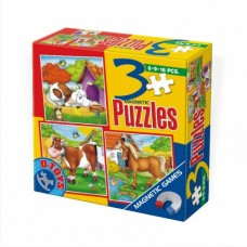 3 PUZZLE- MAGNETIC- ANIMALE